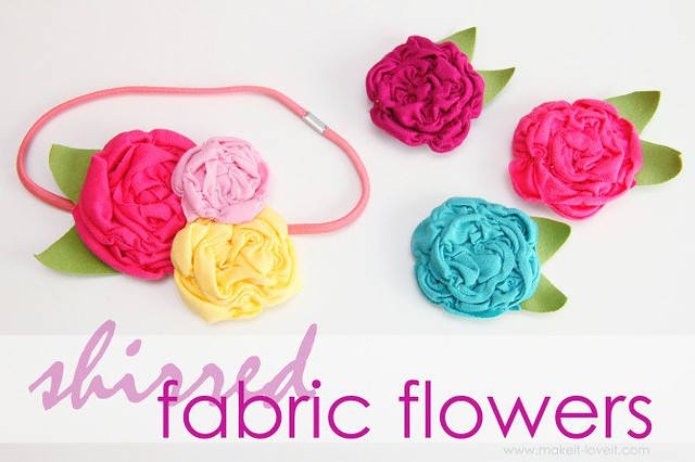 knit scrap fabric flowers