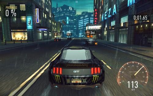 เกม Need for Speed: No Limits บน ASUS ZenPad 7.0 (Z370CG) จะเห็นว่าคุณภาพกราฟิกลดลงไปพอสมควร