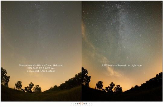 Een subtiele nabewerking in Lightroom (en een klein beetje Photoshop) laat zien dat we uit één enkel RAW bestand de Melkweg zichtbaar kunnen maken. Maar de lichtvervuiling gooit roet in het eten; het blijft behelpen.