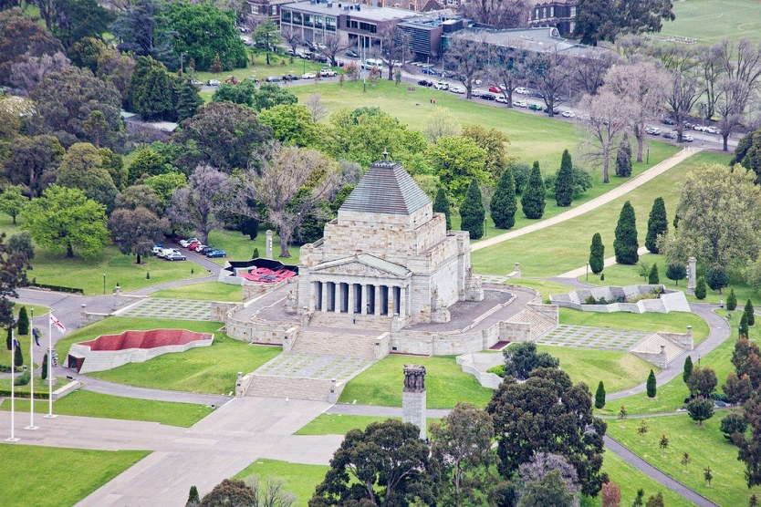 Shrine of Remembrance in the Queen Victoria Gardens.