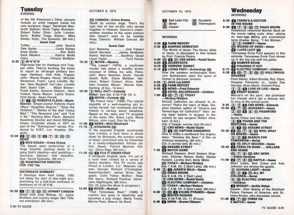 Retrospace TV Guide 9 Oct 612 1973
