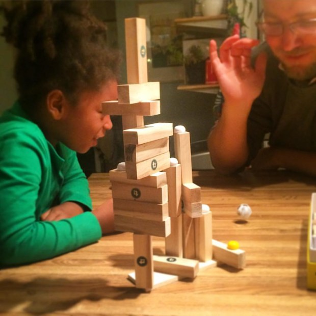 Zelda and mama built it tall. Engineer daddy played it safe on the other side.