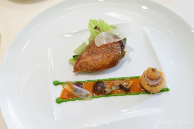 CAILLE Roasted Quail Breast, Pioppini Mushrooms, Romaine Lettuce, Crispy Legs, Green Peppercorn Sauce