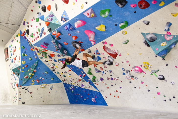 The Grotto is one of San Diego's newest indoor bouldering, climbing, and yoga gyms. There are over 130 climbs with a wide range of difficulties. In addition to the 7,000 sq. feet of textured climbing surface, there is a yoga studio, showers, social areas, and a gym to help you train.