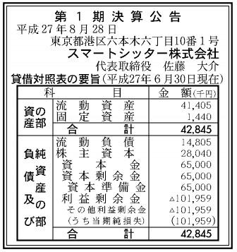 スマートシッター株式会社 第1期 決算公告(平成27年6月30日現在)