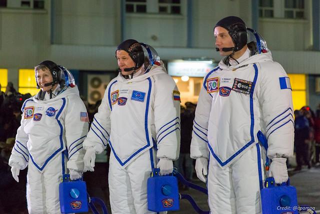 Peggy Whitson, Oleg Novitskyi and Thomas Pesquet