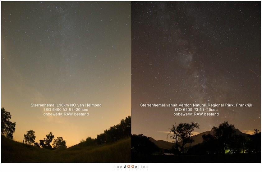 Het verschil tussen Nederland en Zuid-Frankrijk, beiden met een heldere nacht zonder Maan en met vergelijkbare instellingen.