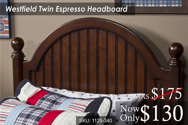Westfield Twin Espresso Headboard (1125-340) Was 175 Now 130