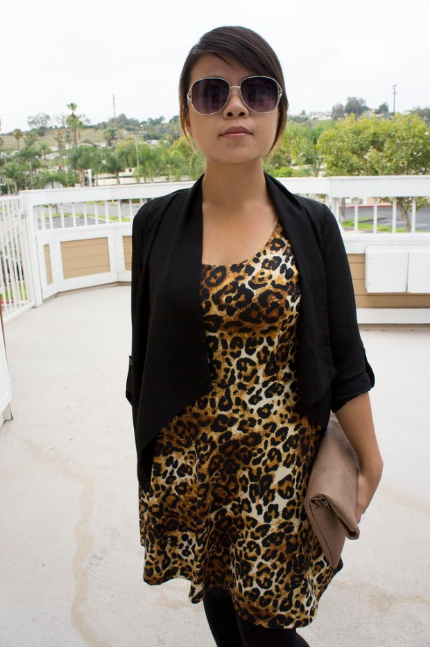 Asian in Leopard Print Fit and Flare Dress
