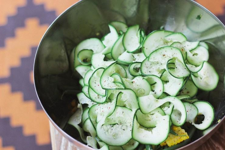 Zucchini, Corn and Green Bean Salad
