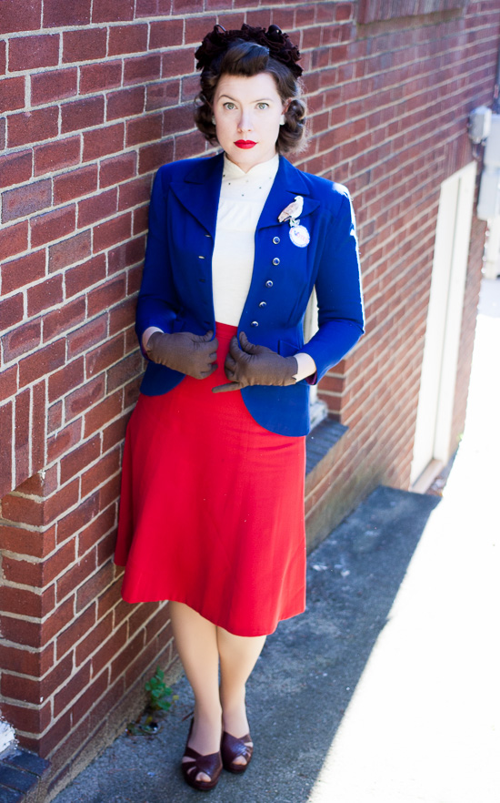1940s election day patriotic red white and blue outfit with brown accents