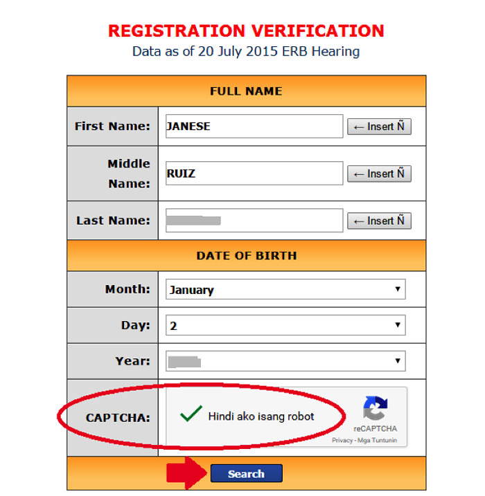 how to verify voters status online step 5