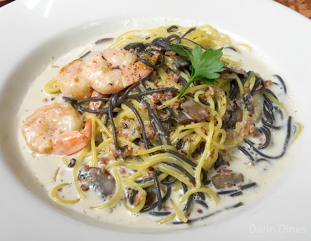 Bianchi And Neri black and white pasta thin vermicelli, shrimp, mushroom & roasted pancetta in a creamy bisque