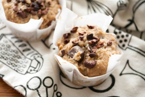 Rye Muffins with Pear and Dark Chocolate