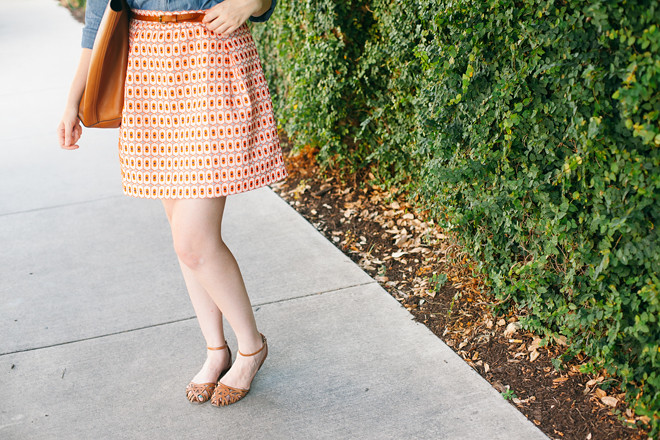 geo print skirt chambray shirt7