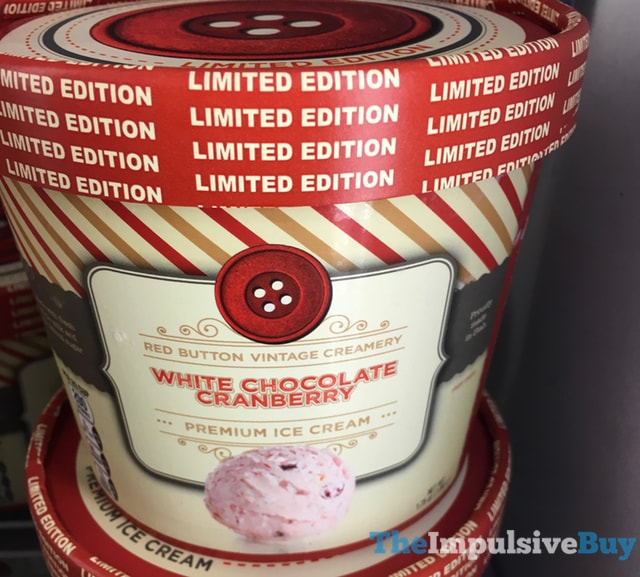 Limited Edition Red Button Vintage Creamery White Chocolate Cranberry Ice Cream