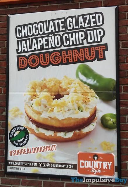 Country Style Chocolate Glazed Jalapeno Chip Dip Doughnut
