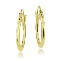 14K Gold 1.6mm Flat Round Hoop Earrings, 18mm | eBay