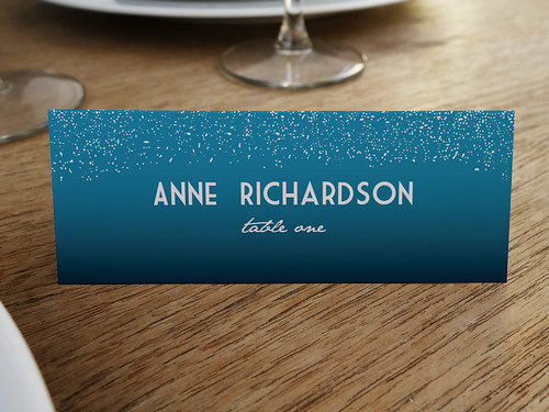 Starry Night Blue Printable Place Card Template