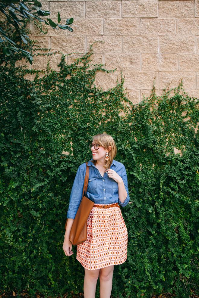 geo print skirt chambray shirt3