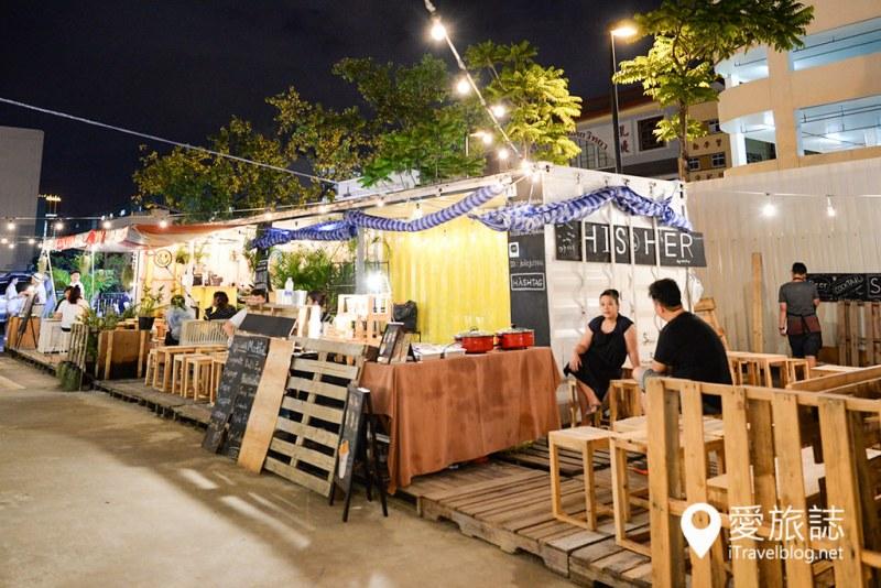 《曼谷夜市集景》ArtBox文青货柜市集:有青,才敢摆摊