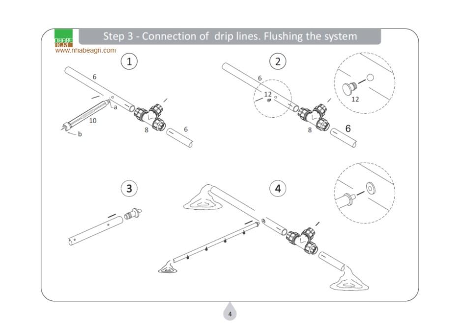 Nối ống nhỏ giọt với đường dẫn nước; xả nước kiểm tra hệ thống