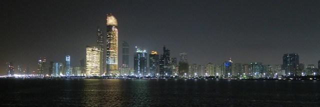 abu dhabi skyline from marina at night