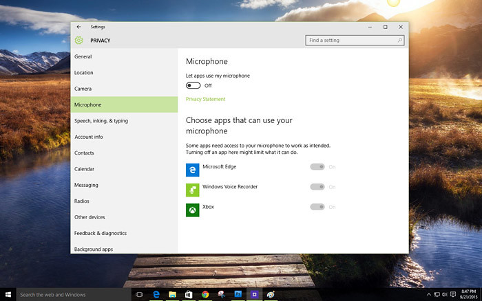 Stop Windows 10 from using your Mic