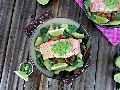 Jalapeno Lime Butter Baked Salmon Salad