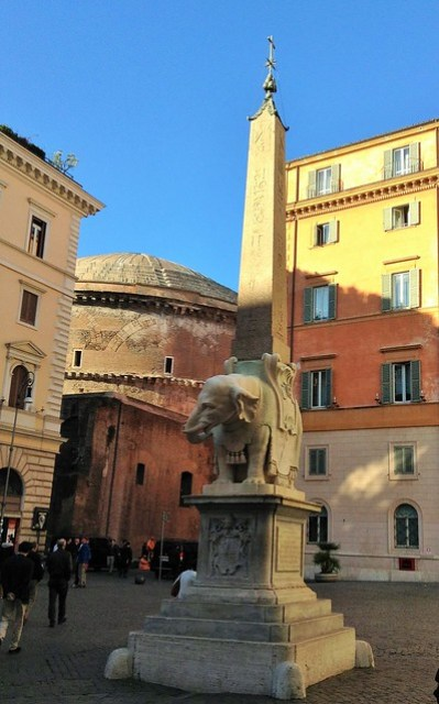 Piazza della Minerva with its peculiar statue of an elephant in the centre. If you visit Rome with kids, make sure you come to the back of the pantheon to see this peculiar sculpture