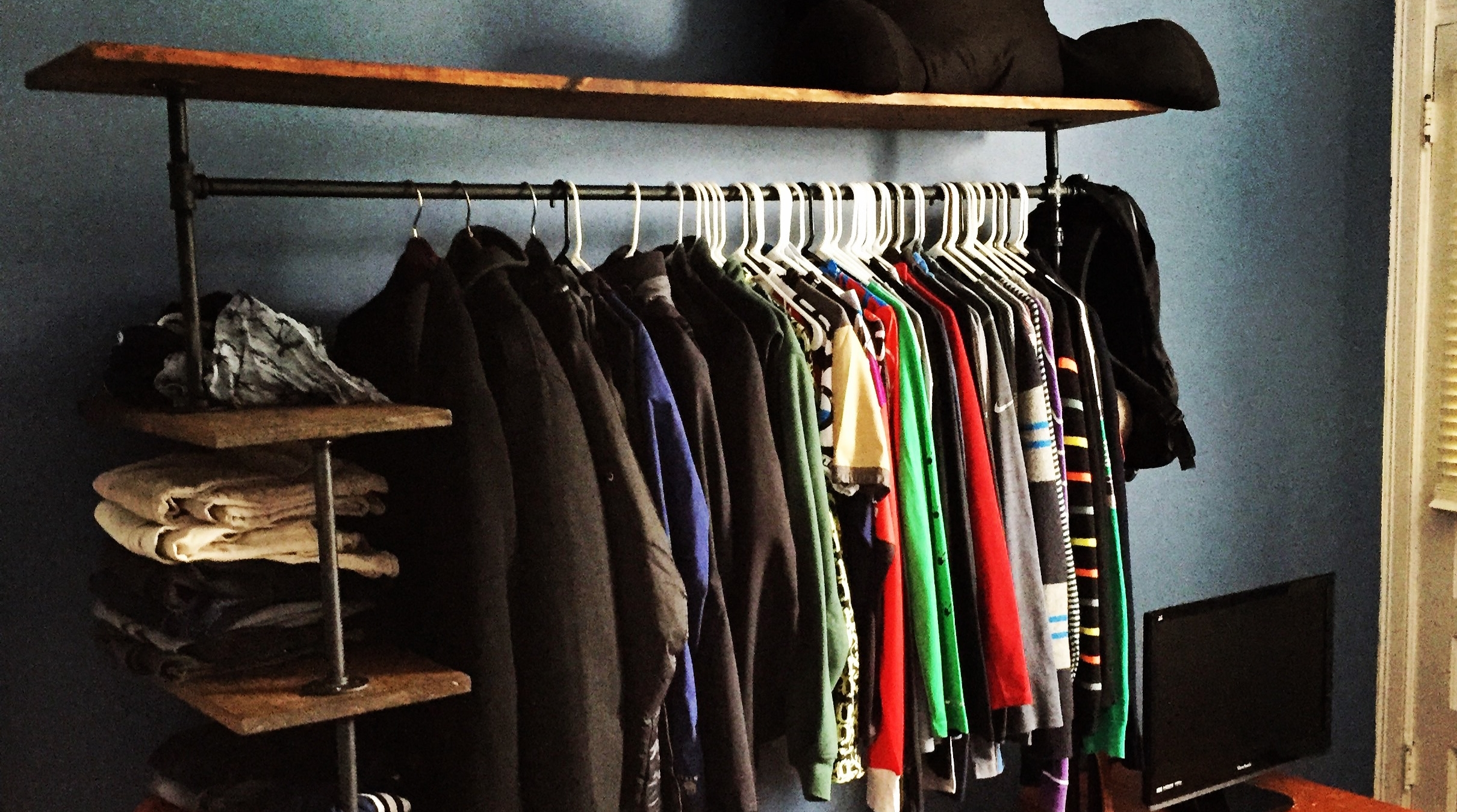 diy pipe shelf clothes rack andrew brooks