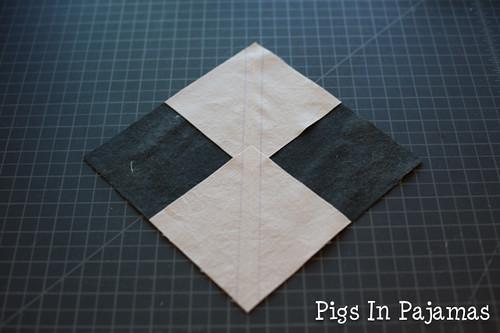 Diamond sew lines marked