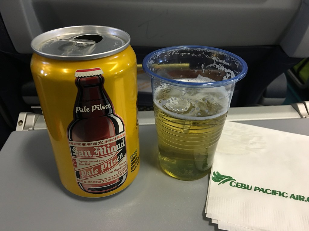 Cebu Pacific, in flight beer P130 (QR 10, GBP 1.90) a can