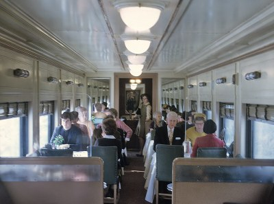 Erie-Lackawanna standard diner #741 interior on Train 5, The Lake Cities on December 21, 1969