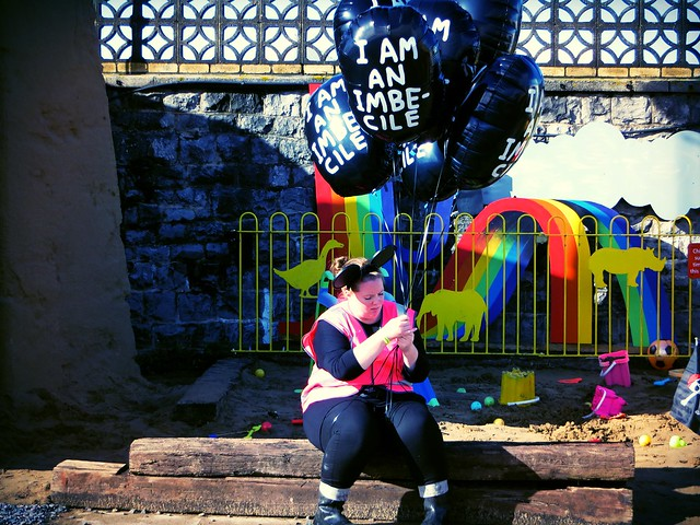 I am an imbecile balloons, banksy, dismaland, weston super mare