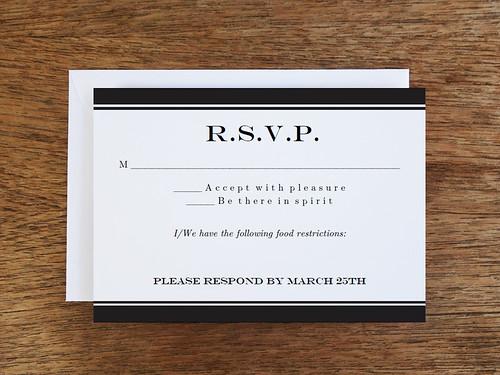 RSVP Template Printable - Black Stripe