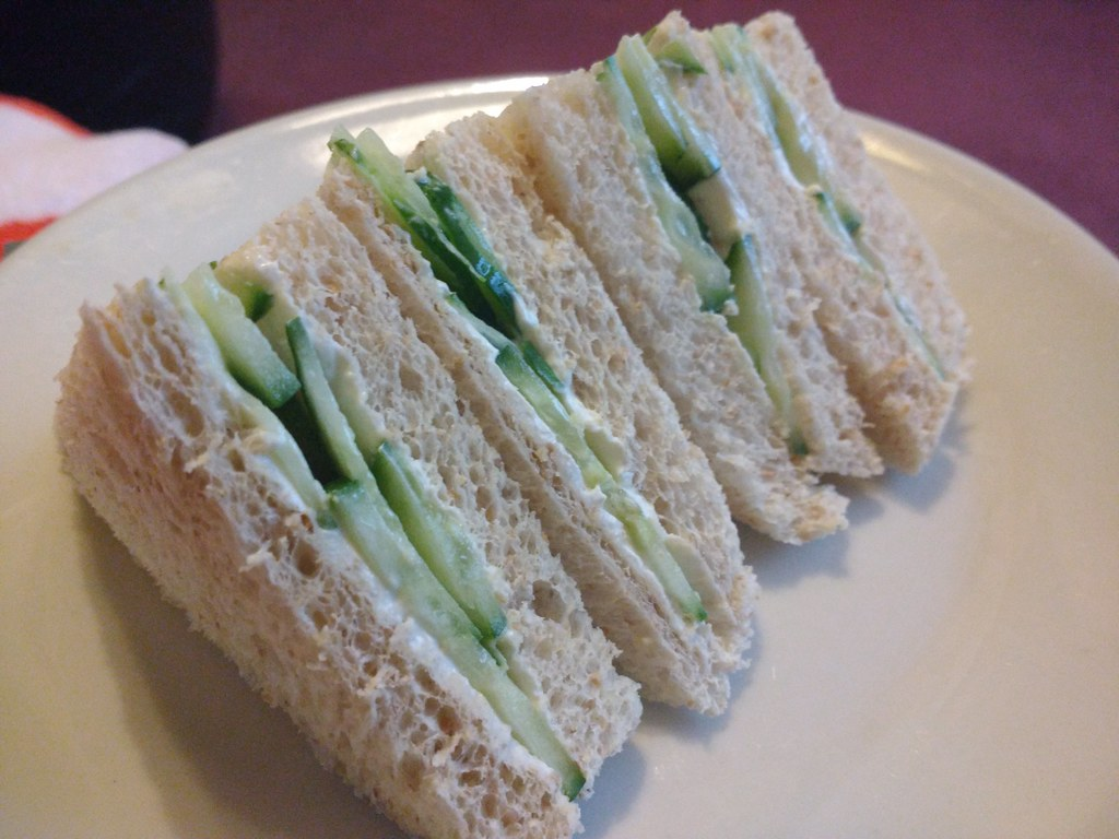 Cucumber sandwiches. Since for reasons @Kake bought crust less bread