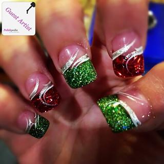 nails-red & green swirls