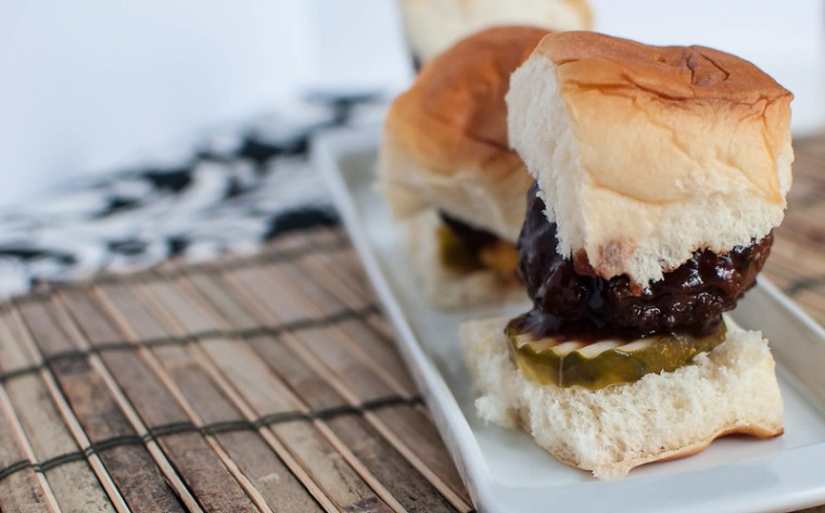 Cheddar Stuffed BBQ Meatball Sliders