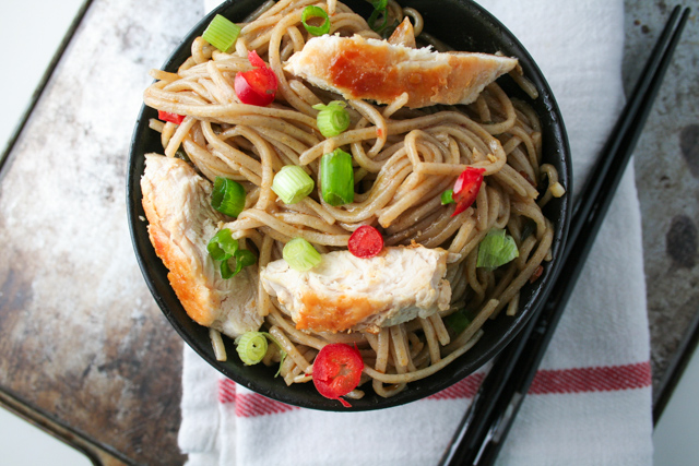 spicy soba noodles with chicken [ inthiskitchen.com ]