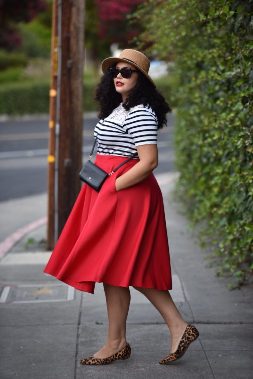 Stripe Top, Red Skirt, Leopard Shoes