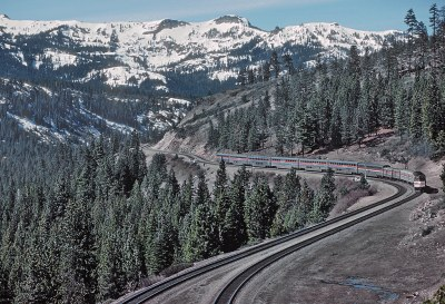 AMTK 314 with the San Francisco Zephyr at Andover, CA in Donner Pass in April 1981