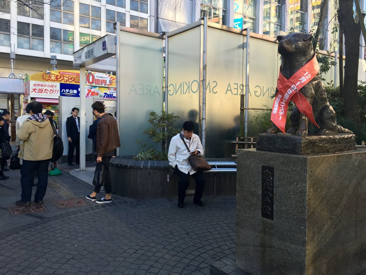 Passive Smoker Hachiko at Shibiya Station.