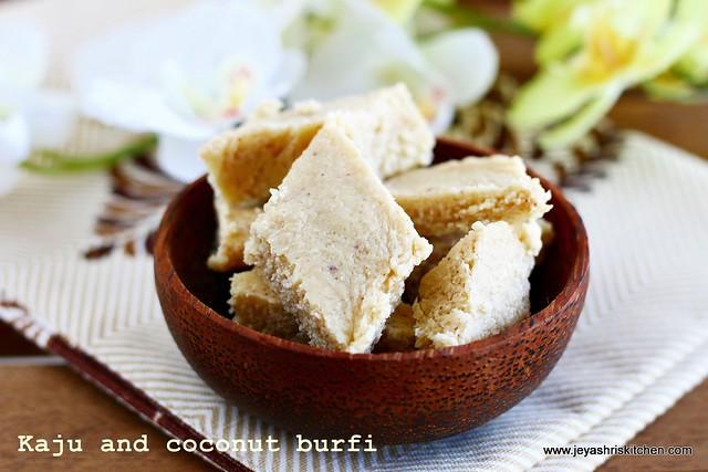 Kaju coconut burfi