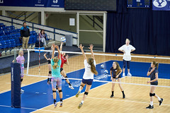 Angela spiking it down in the Smith Fieldhouse