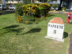 Tahiti, French Polynesia - Mile 0 Marker