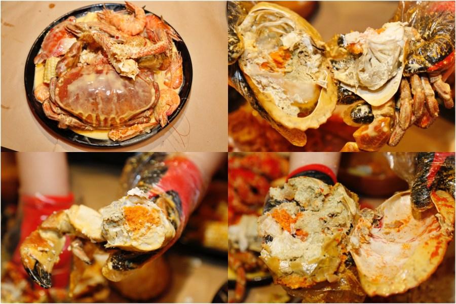 [中壢美食]紅唇蟹 KISS CRAB 美式手抓海鮮|威尼斯影城旁~北海道帝王蟹、波士頓龍蝦、英國麵包蟹豪邁大口吃.迎新季平日四人同行點歡樂套餐B加贈白葡萄酒 @VIVIYU小世界