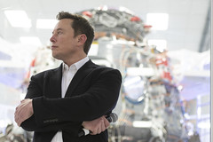 SpaceX Chief Engineer Elon Musk speaks to media in front of Crew Dragon cleanroom at SpaceX Headquarters in Hawthorne, California on October 10, 2019. (Photo by Yichuan Cao/Sipa USA)
