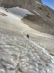 One of several snow field crossings