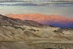 Badlands and alpenglow on the Panamint Mountains